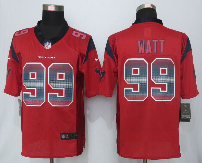 Nike Texans 99 J.J. Watt Red Pro Line Fashion Strobe Jersey