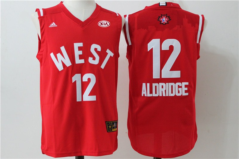 Spurs 12 LaMarcus Aldridge Red 2016 NBA All Star West Jersey