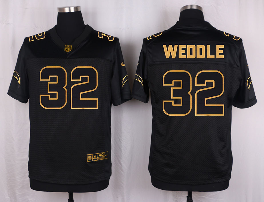 Nike Chargers 32 Eric Weddle Pro Line Black Gold Collection Elite Jersey