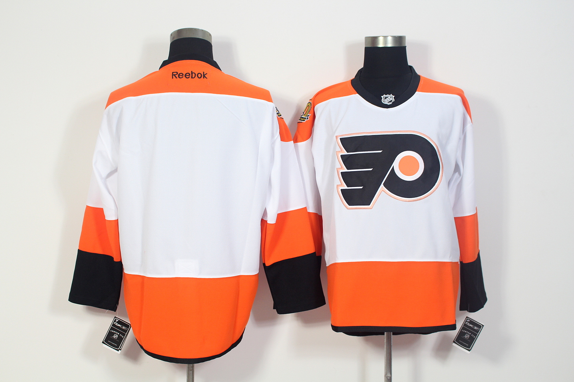 Flyers Blank White With 50th Anniversary Patch Reebok Jersey