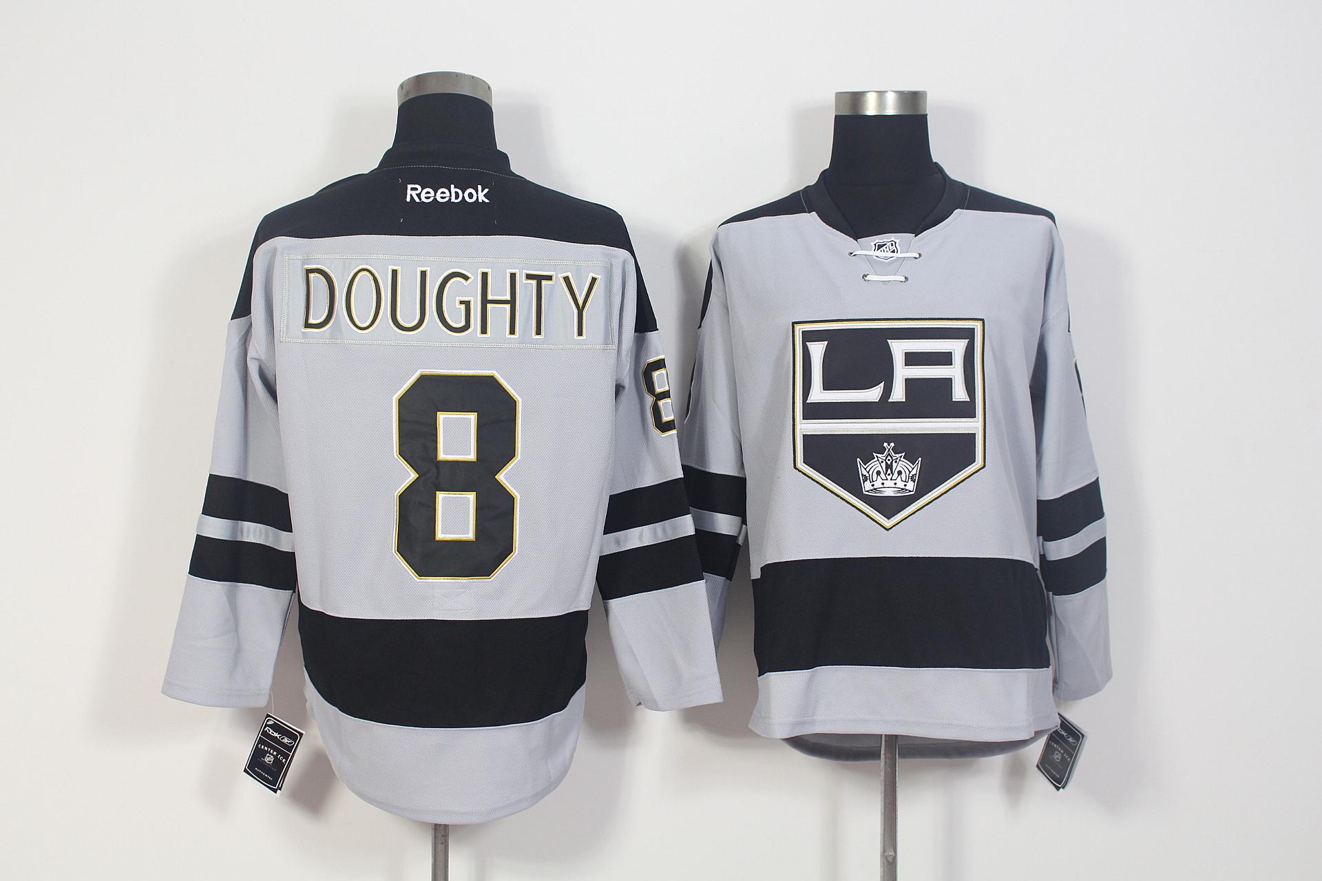 Kings 8 Drew Doughty Grey Alternate Premier Reebok Jersey