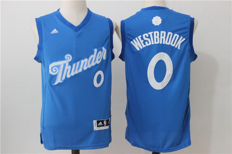 Thunder 0 Russell Westbrook Blue 2016 Christmas Day Swingman Jersey