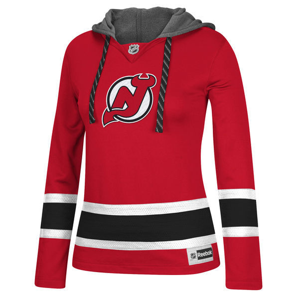 New Jersey Devils Red All Stitched Women's Hooded Sweatshirt