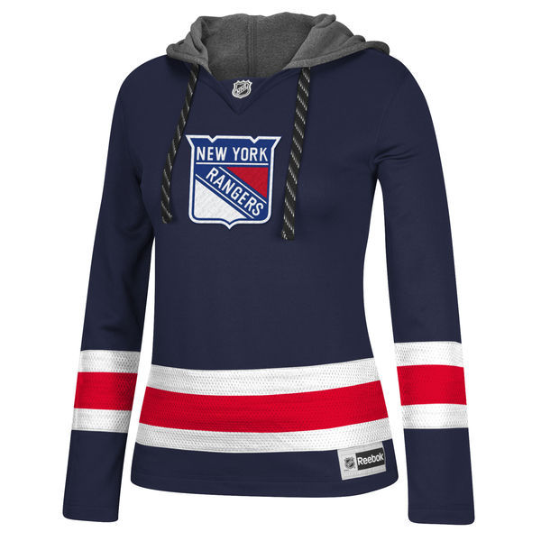New York Rangers Navy All Stitched Women's Hooded Sweatshirt