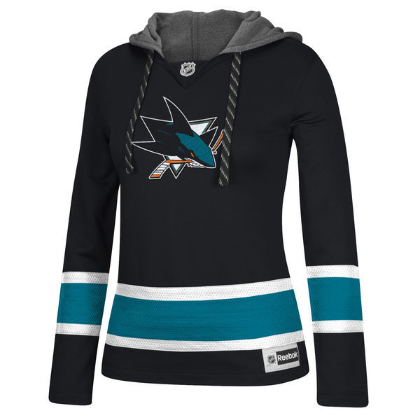 San Jose Sharks Black All Stitched Women's Hooded Sweatshirt