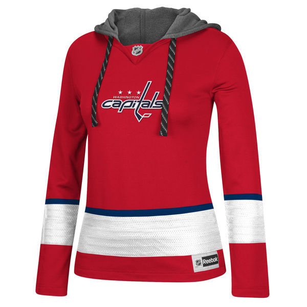 Washington Capitals Red All Stitched Women's Hooded Sweatshirt