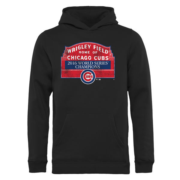 Chicago Cubs Black 2016 World Series Champions Men's Pullover Hoodie2