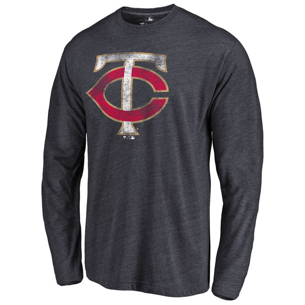 Minnesota Twins Distressed Team Long Sleeve Tri Blend T-Shirt Navy
