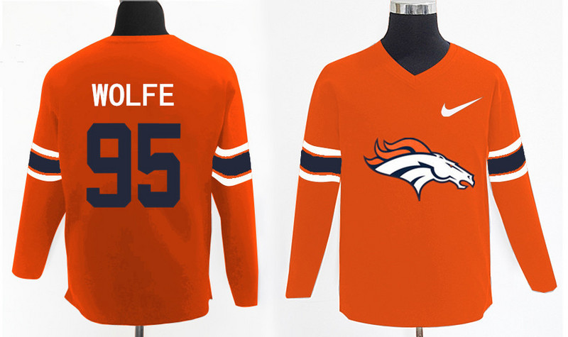 Nike Broncos 95 Derek Wolfe Orange Knit Sweater