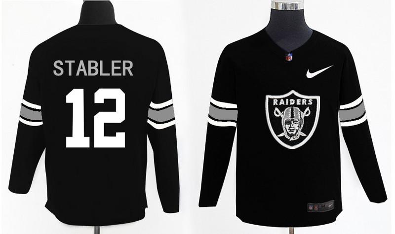 Nike Raiders 12 Ken Stabler Black Knit Sweater