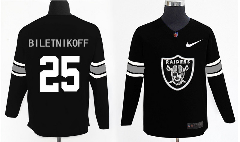 Nike Raiders 25 Fred Biletnikoff Black Knit Sweater