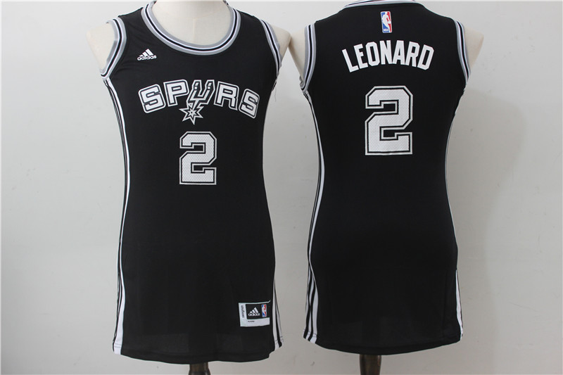 Spurs 2 Kawhi Leonard Black Women Swingman Jersey