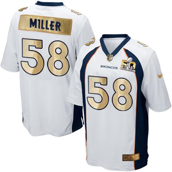 Nike Broncos 58 Von Miller White Super Bowl 50 Champions Limited Jersey
