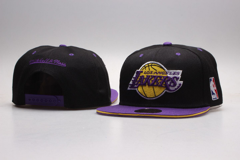 Lakers Black Mitchell & Ness Adjustable Hat YP