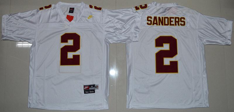 Florida State Seminoles (FSU) 2 Deion Sanders White College Throwback Jersey