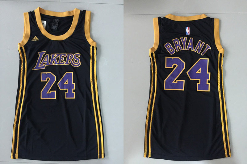 Lakers 24 Kobe Bryant Black Women Replica Jersey