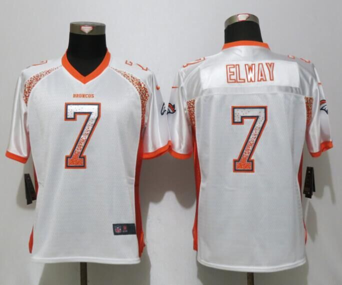 Nike Broncos 7 John Elway White Women Drift Fashion Jersey