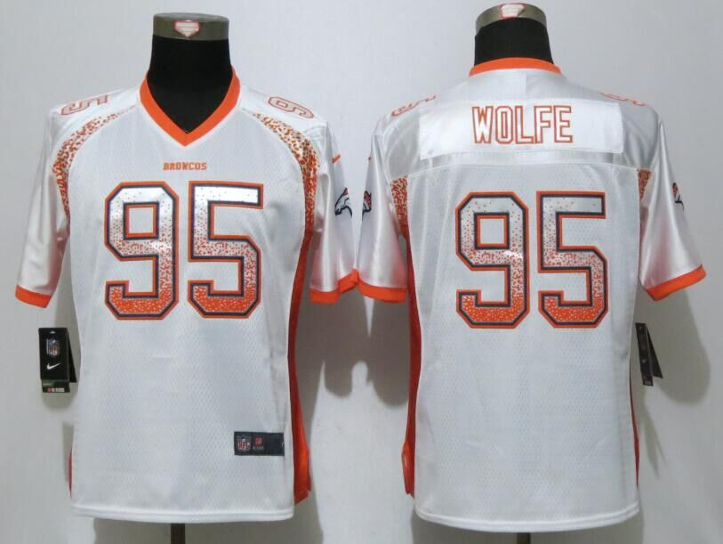 Nike Broncos 95 Derek Wolfe White Women Drift Fashion Jersey