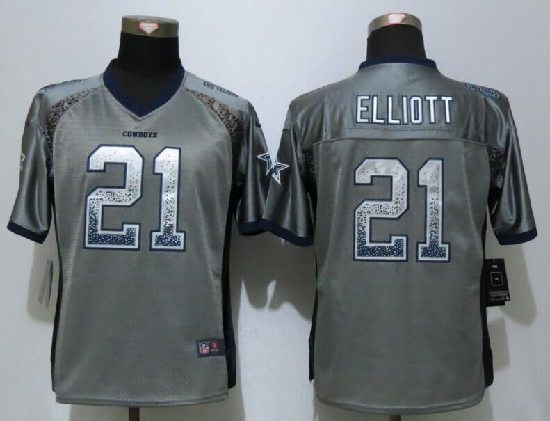 Nike Cowboys 21 Ezekiel Elliott Grey Women Drift Fashion Jersey