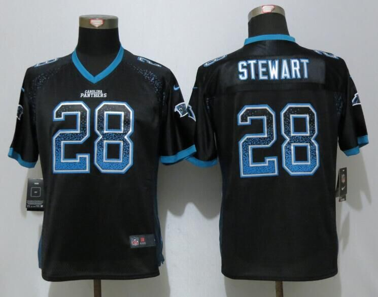 Nike Panthers 28 Jonathan Stewart Black Women Drift Fashion Jersey