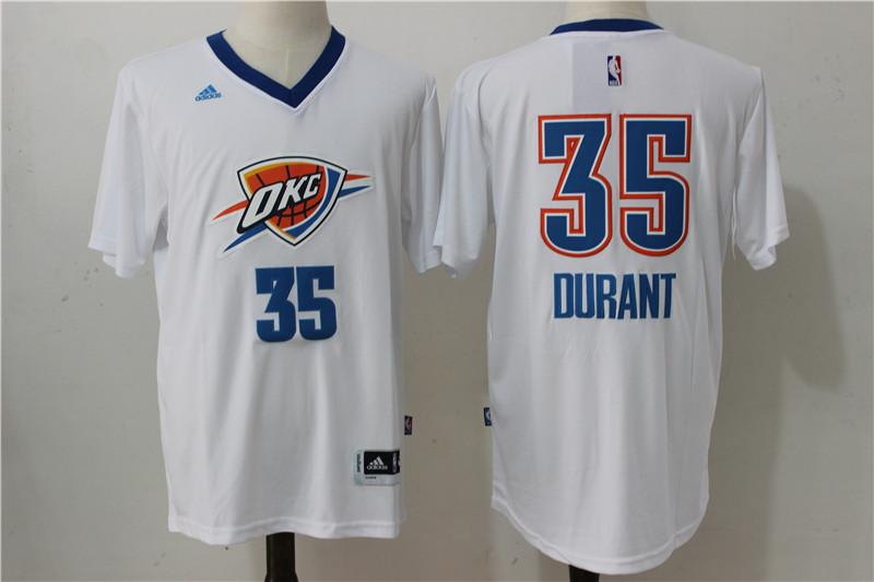 Thunder 35 Kevin Durant White Short Sleeve Swingman Jersey