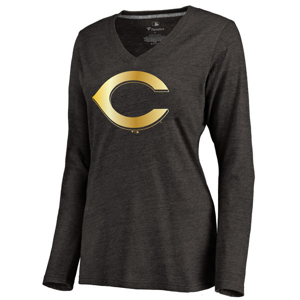 Cincinnati Reds Women's Gold Collection Long Sleeve V Neck Tri Blend T-Shirt Black