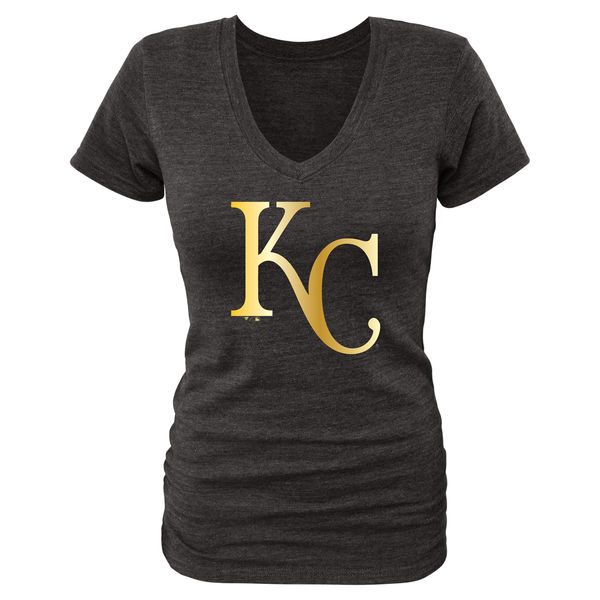 Kansas City Royals Women's Gold Collection Long Sleeve V Neck Tri Blend T-Shirt Black