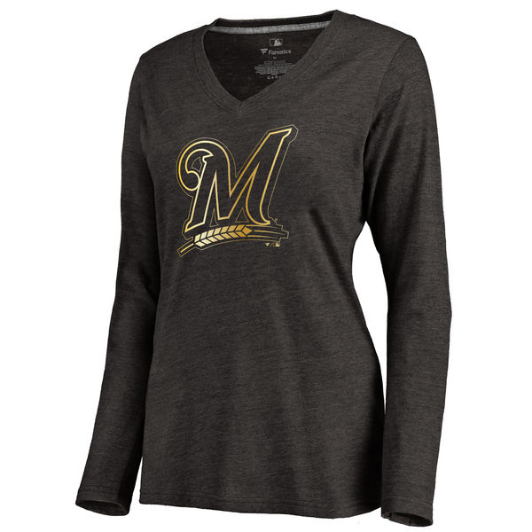 Milwaukee Brewers Women's Gold Collection Long Sleeve V Neck Tri Blend T-Shirt Black