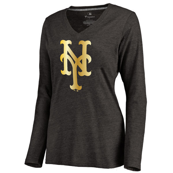 New York Mets Women's Gold Collection Long Sleeve V Neck Tri Blend T-Shirt Black