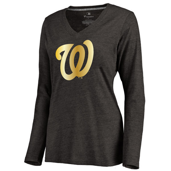 Washington Nationals Women's Gold Collection Long Sleeve V Neck Tri Blend T-Shirt Black