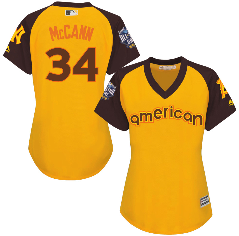 Mets 34 Brian McCann Yellow Women 2016 All-Star Game Cool Base Batting Practice Player Jersey