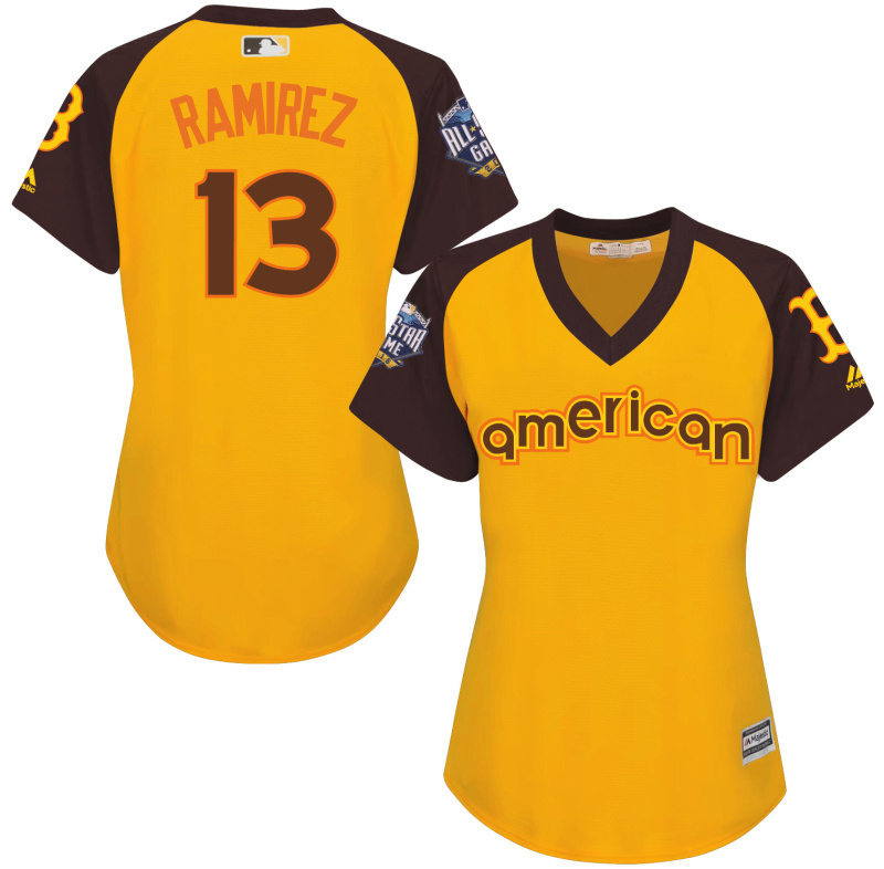 Red Sox 13 Hanley Ramirez Yellow Women 2016 All-Star Game Cool Base Batting Practice Player Jersey