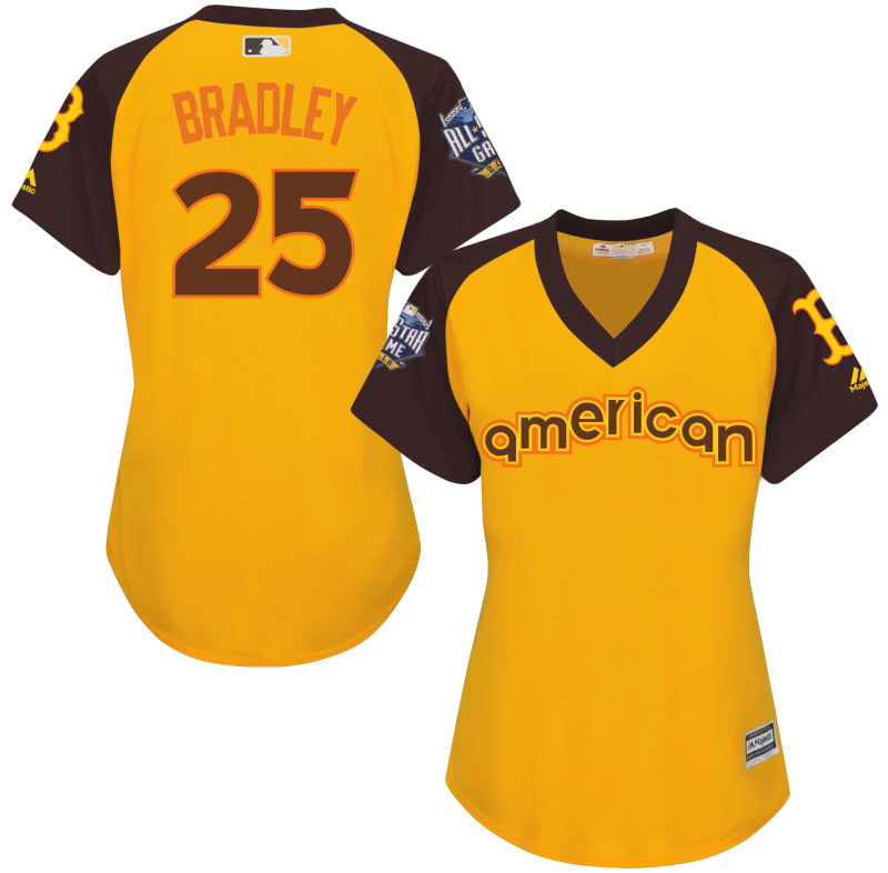Red Sox 25 Jackie Bradley Yellow Women 2016 All-Star Game Cool Base Batting Practice Player Jersey