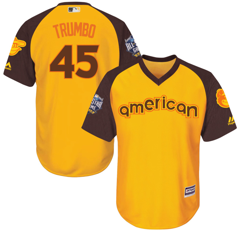 Orioles 45 Mark Trumbo Yellow Youth 2016 All-Star Game Cool Base Batting Practice Player Jersey