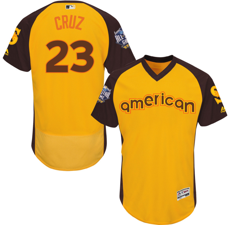 Mariners 23 Nelson Cruz Yellow 2016 All-Star Game Cool Base Batting Practice Player Jersey