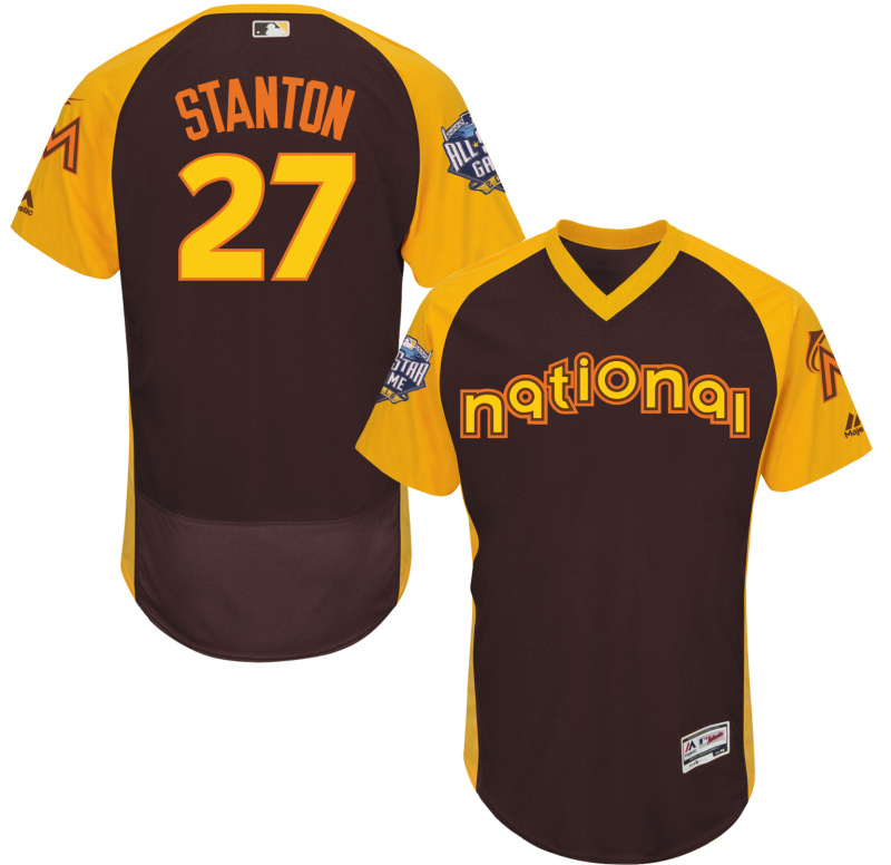 Marlins 27 Giancarlo Stanton Brown 2016 All-Star Game Cool Base Batting Practice Player Jersey