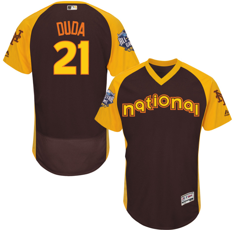 Mets 21 Lucas Duda Brown 2016 All-Star Game Cool Base Batting Practice Player Jersey