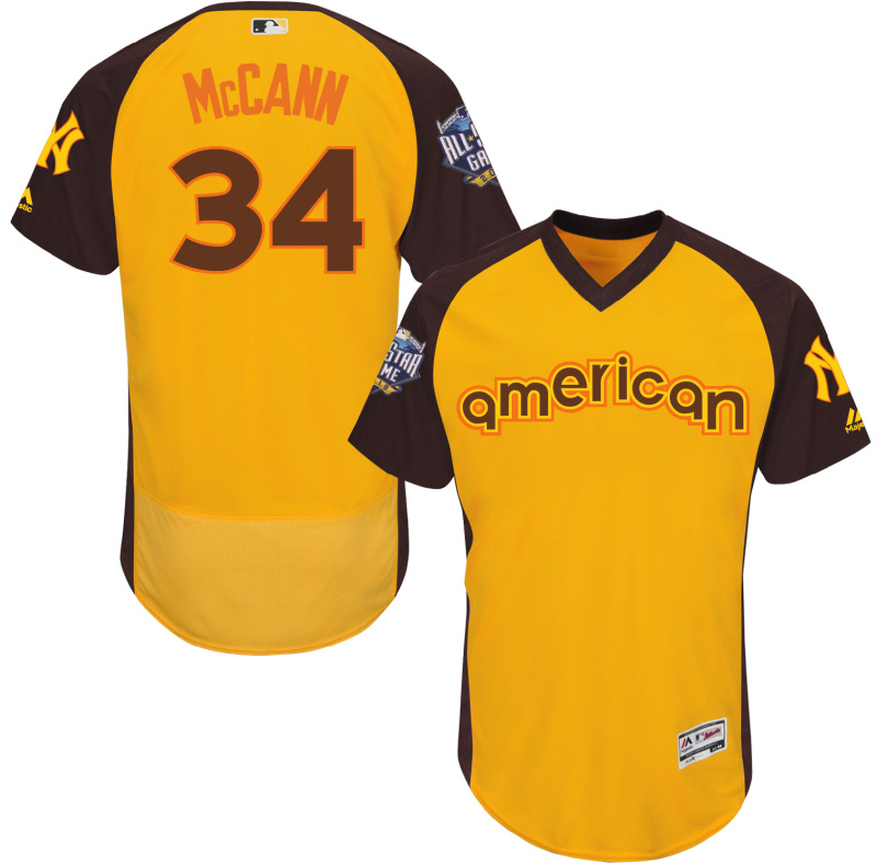 Mets 34 Brian McCann Yellow 2016 All-Star Game Cool Base Batting Practice Player Jersey