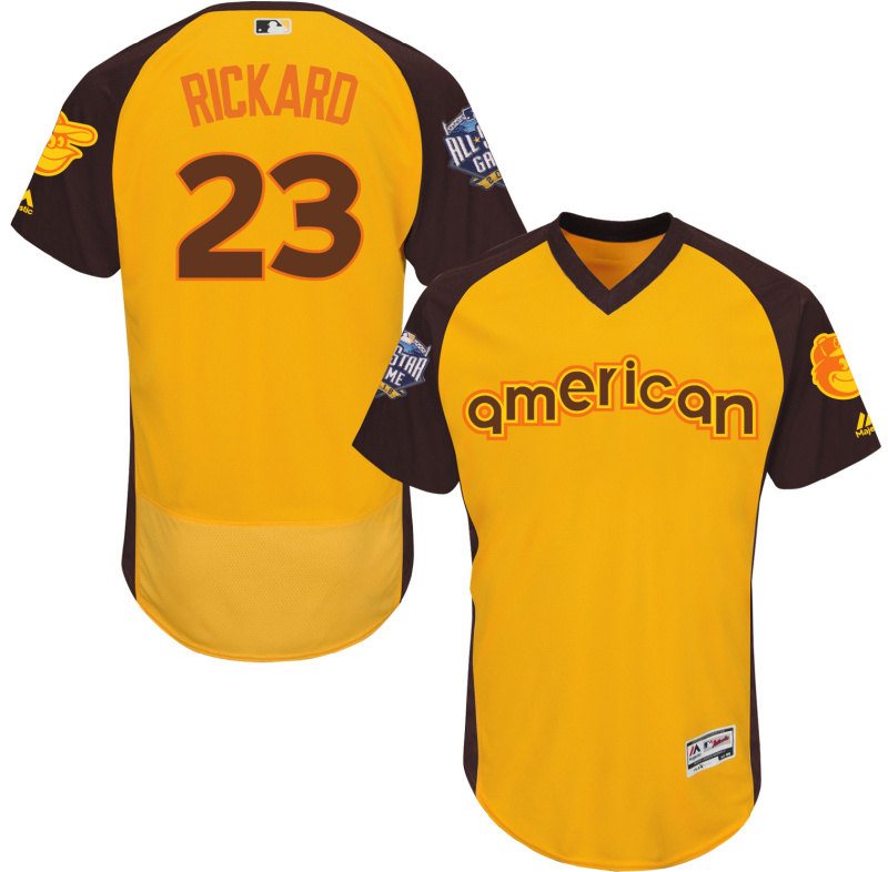 Orioles 23 Joey Rickard Yellow 2016 All-Star Game Cool Base Batting Practice Player Jersey