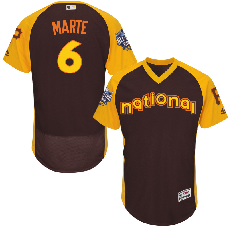 Pirates 6 Starling Marte Brown 2016 All-Star Game Cool Base Batting Practice Player Jersey