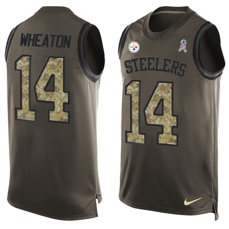 Nike Steelers 14 Markus Wheaton Olive Green Salute To Service Player Name & Number Tank Top