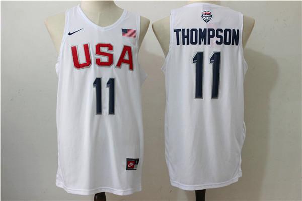 USA Basketball 11 Klay Thompson White Nike Rio Elite Stitched Jersey