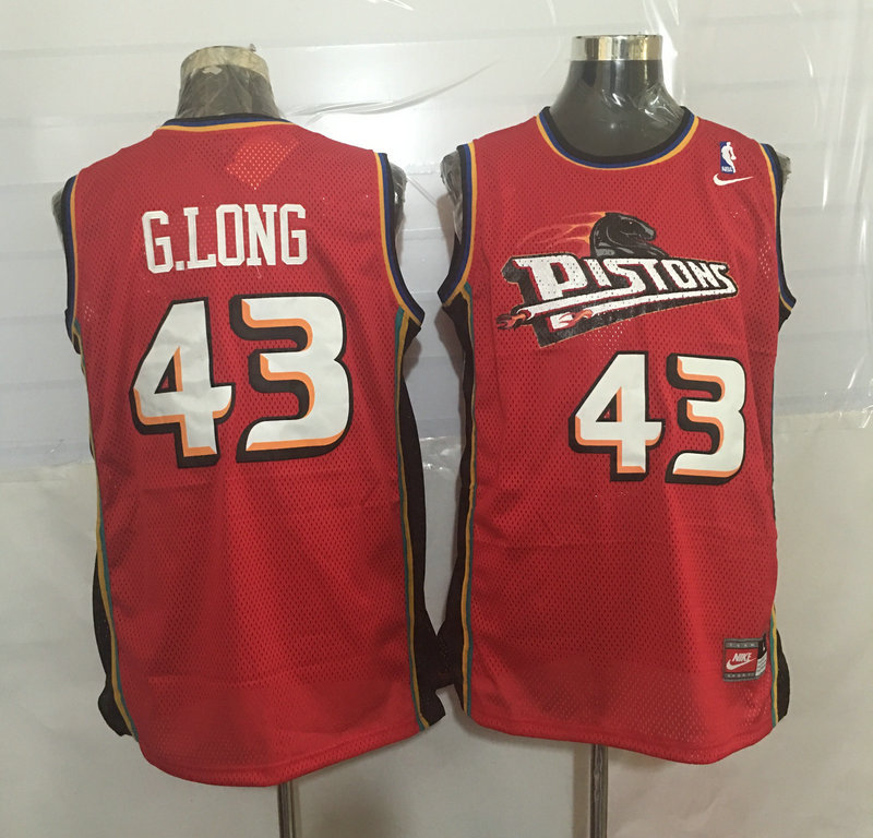 Pistons 43 Grant Long Red Nike Stitched Jersey