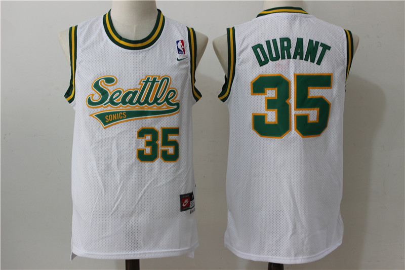 SuperSonics 35 Kevin Durant White Nike Stitched Jersey
