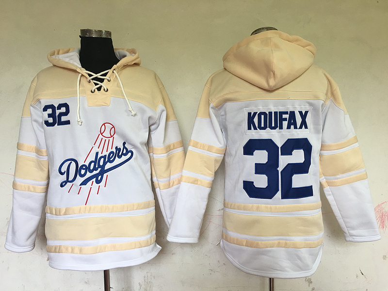 Dodgers 32 Sandy Koufax White All Stitched Hooded Sweatshirt