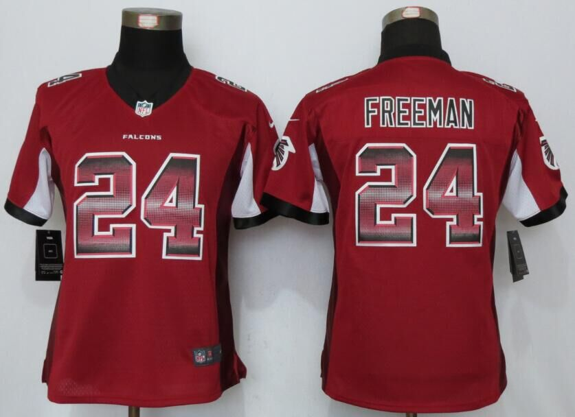 Nike Falcons 24 Devonta Freeman Red Pro Line Fashion Strobe Women Limited Jersey