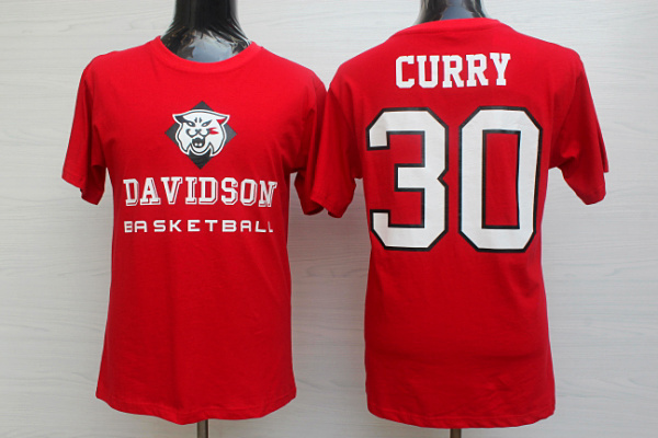 Davidson College Wildcats 30 Stephen Curry Red Men's T Shirt