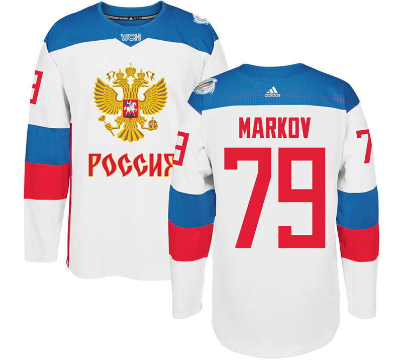 Russia 79 Andrei Markov White 2016 World Cup Of Hockey Premier Player Jersey