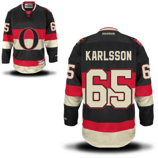 Senators 65 Erik Karlsson Black Reebok Alternate Premier Jersey