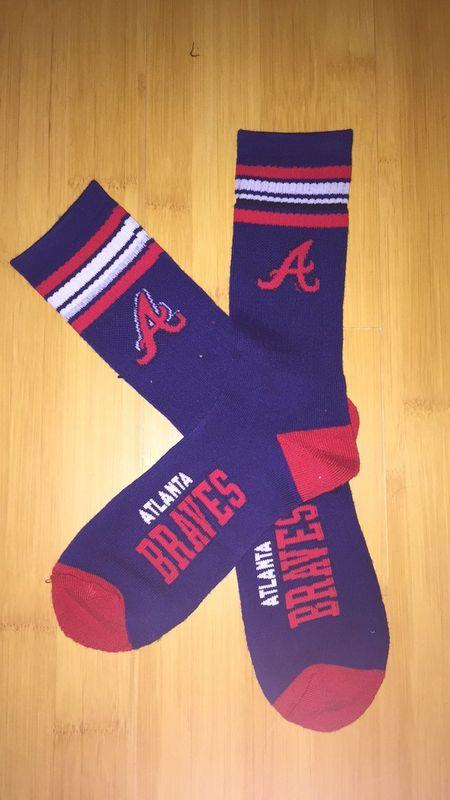 Braves Team Logo Navy Blue MLB Socks